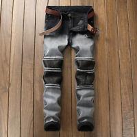 Men's Long Classic Patchwork Jeans Straight Leg Slim Casual Denim Pants Trousers