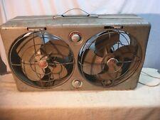 Vintage GE Electric Twin Fan  Ventilator  1940s 50s 12in Blades Adjustable Fan