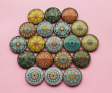 Mandala Yoga Glass Dome 4cm Fridge Magnets - Gift for Yogi Hipsters