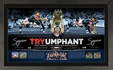 SYDNEY ROOSTERS 2013 MICHAEL JENNINGS & ANTHONY MINICHELLO SIGNED FRAMED PRINT