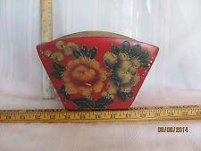Vintage floral painted wooden basket