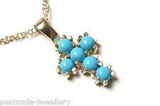 """9ct Gold Turquoise Cross Pendant and 18"""" Chain Gift Boxed Made in UK"""