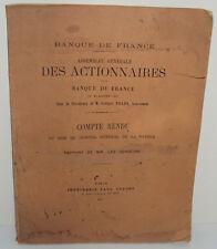 Assemblée Générale des Actionnaires de la Banque de France du 25 janvier 1917