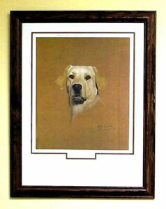 Yellow Labrador Matted Framed Print Signed by Artist Bob Carney 1977