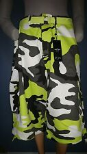 Men Cargo Shorts Sz 44 Military Camouflage Matching Belt Drawstring Short Bottom
