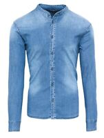 Camicia di Jeans uomo Diamond casual blue denim con collo alla coreana slim fit