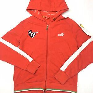Puma Scuderia Ferrari Mens Red Zip Up Hoodie Size Medium No Hood Drawstring