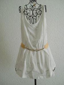 Top mit Kette TUNIKA Longtop Top Shirt Longshirt Kleid Langkleid weiß