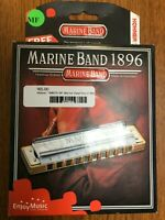 "Hohner Marine Band Harmonica 1896BX in the Key of /""F/"" Bonus Hohner Mini Harp !"
