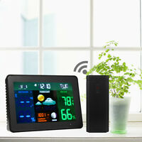 Wireless In/Outdoor Weather Alarm Clock Station Forecast Temperature Humidity