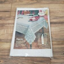 """Vitex Tablecloth Nappe Lace look 60"""" x 104"""" 100% Deluxe Vinyl White"""