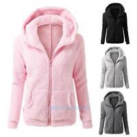 Womens Thicken Fleece Warm Winter Coat Hooded Parka Overcoat Jacket Outwear