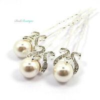 Bridal Wedding Vintage French Fleur De Lis Pearl Silver Diamante Hair Pins HP11