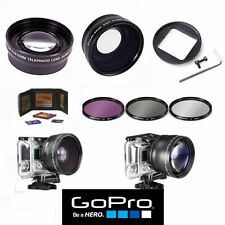 GOPRO HERO5 BLACK WIDE ANGLE LENS+TELEPHOTO ZOOM LENS + FILTER KIT + MEM WALLET