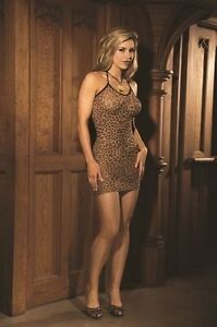 Leopard Slip Dress New Adult Womens Sexy Lingerie Valentine Brown One Size