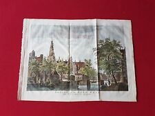 Großer Original Kupferstich Amsterdam   Oude Kerk