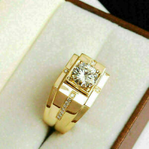 2 CT 10k Yellow Gold Over Mens Round Diamond Wedding Band Engagement Pinky Ring