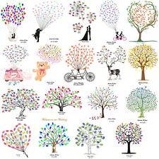 Thumbprint Fingerprint Family Tree Wedding Guest Book Canvas Painting + Inkpad