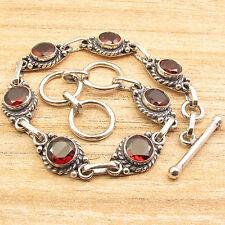Eye-Catching !! 925 Silver Plated Natural Red Fire GARNET ART Bracelet 8 Inch