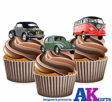 12 X Novelty Fun Classic VW Mix EDIBLE CUP CAKE TOPPERS STAND UPS Birthday