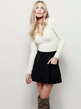 New Free People Black Happy Together Mini Skirt Size 4 $78