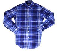 Ralph Lauren Mens Poplin Shirt Blue Large L Classic Fit Plaid Button Up $89 094