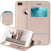 For Apple iPhone 7/8/7 Plus Flip PU Leather Cover Window View Stand Wallet Case