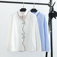 Women Lolita Embroidered Cat Paw Lapel Collar Blouse Long Sleeve Shirts Tops New