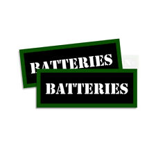 """BATTERIES Ammo Can Prepper Labels Ammunition stickers decals 2 pack 3""""x1.15"""""""