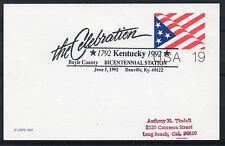 1992 Kentucky Bicentennial cancel. 19c Card. `Boyle County, Danville`.