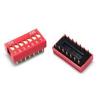 10/20PCS Slide Type Switch Module 2.54mm 7-Bit 7 Position Way DIP Pitch Red