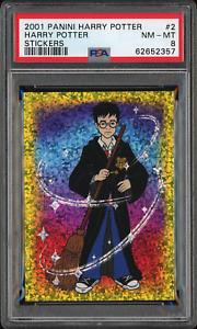 Harry Potter 2001 Panini Harry Potter Stickers #2 RARE Kaboom! Rookie Card PSA 8