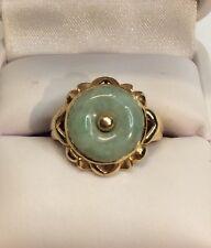Gold Ladies Ring Modern (j452) Jade Disc Green Jade 14K