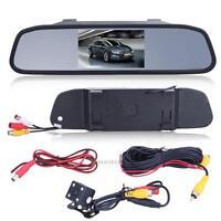 """4.3"""" TFT LCD SCREEN CAR REAR VIEW BACKUP MIRROR MONITOR + REVERSE IR CAMERA KIT"""
