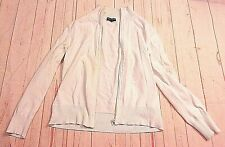 Carolyn Taylor Petite Womens White Zip up Sweater Jacket Light Coat
