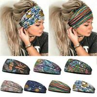 Women Wide Elastic Turban Headwraps Stretch Headband Sports Yoga Gym Hairband AU