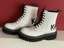 KARL LAGERFELD Troupe Leather Combat Military Boots White Size Uk 4 NEW