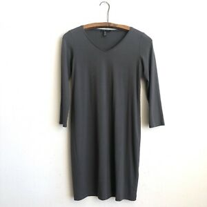 Eileen Fisher Womens Small Petite Dress Long Sleeve Gray Brown Viscose Blend