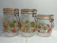 Vtg Arc Corning Corelle Spice Of Life Glass Vegetable Garden Canister Set Jars