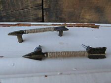 Antique Bronze & Jute Metal Arrow Handle Knob Drawer Pull - BoHo Western Rustic