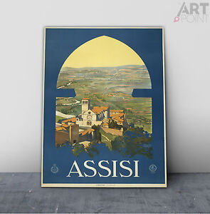Vintage Art Deco Assisi Italy Travel Poster Framed Canvas or Unframed Art Print
