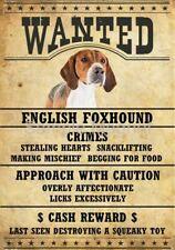 """English Foxhound Wanted Poster Fridge Dog Magnet Large 3.5"""" X 5"""" #2"""
