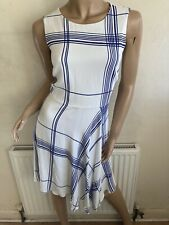 Karen Millen White Blue Check Print Dress UK Size 10 EU 38