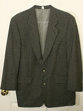 RENE LEZARD ITALY BLACK KHAKI BEIGE STUNNING PLAID MENS WOOL JACKET BLAZER 40 R