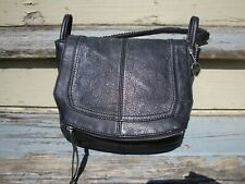 THE SAK Black Distressed Leather Flap Handbag Shoulder Purse Medium Biker Hobo
