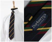 Mens BURBERRYS Silk Tie Cravatte Necktie Striped Navy Blue Yellow Green Red