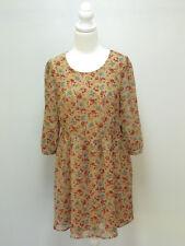 C-088 Princess Highway Dress Sz 12 AUTUMN Floral 40's WWII Rockabilly AS NEW