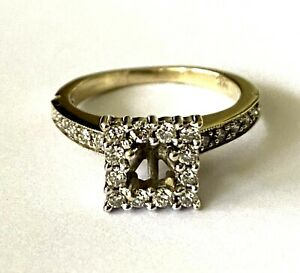 14K Solid White Gold 0.33cttw Round Natural Diamond Ladies Ring Setting Size 4.5