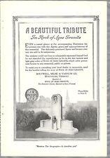 1920 ROCK OF AGES advertisement, WWI Soldiers Memorial granite