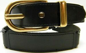 WOMEN FOSSIL BLACK BRIDLE LEATHER CHAIN BELT SOLID BRASS BUCKLE SIZE MEDIUM